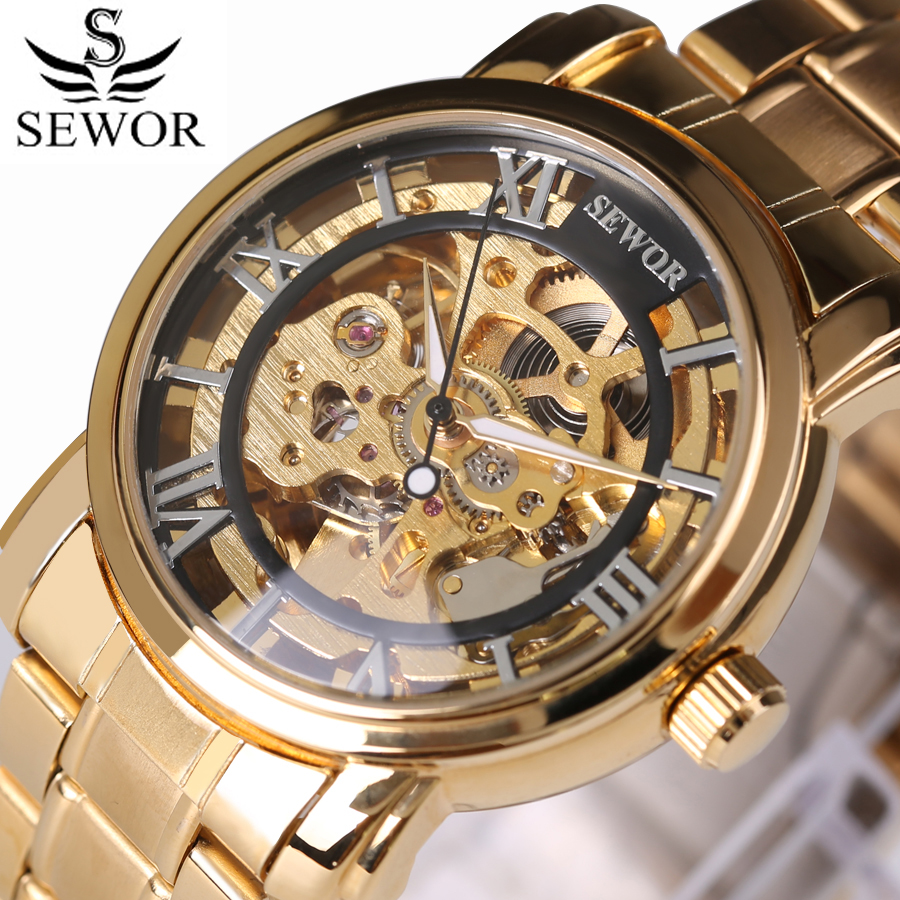 Top Brand Luxury Men Skeleton Mechanical Watch Gold Skeleton Vintage Watches Hollow automatic self-wind Wrist watch Man Clock men luxury brand casual gold full steel band skeleton automatic self wind mechanical hand wind goden relogio for man wrist watch