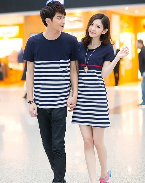 f01da09c824 Summer lovers  striped T shirt couples dress couple clothes 2pcs lot Free  Shipping
