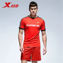 XTEP 2017 New Men's Summer Athletic Quick Dry Short sleeve Soccer Jerseys T shirt Clothing Suits Set Free Shipping 884229839003