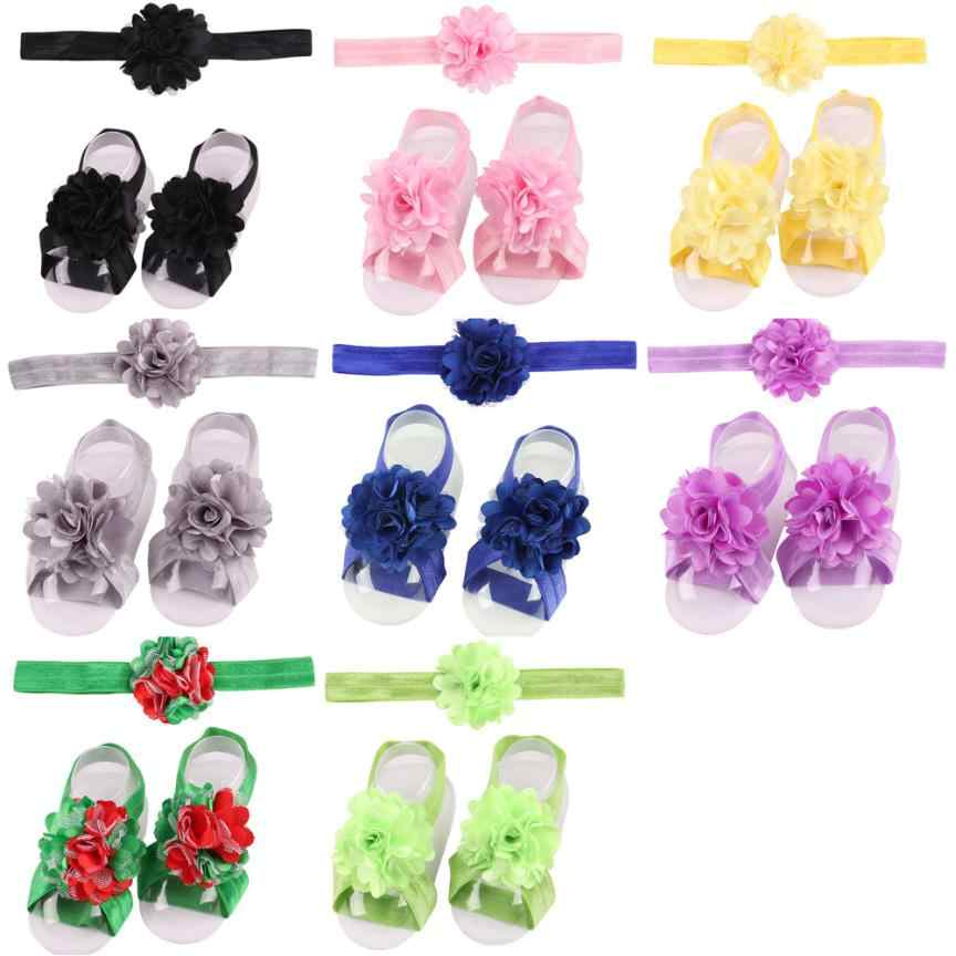3 piezas un conjunto lindo bebé niñas niño flor diadema + flor sandalias descalzas/zapatos conjunto accesorios para niños #15