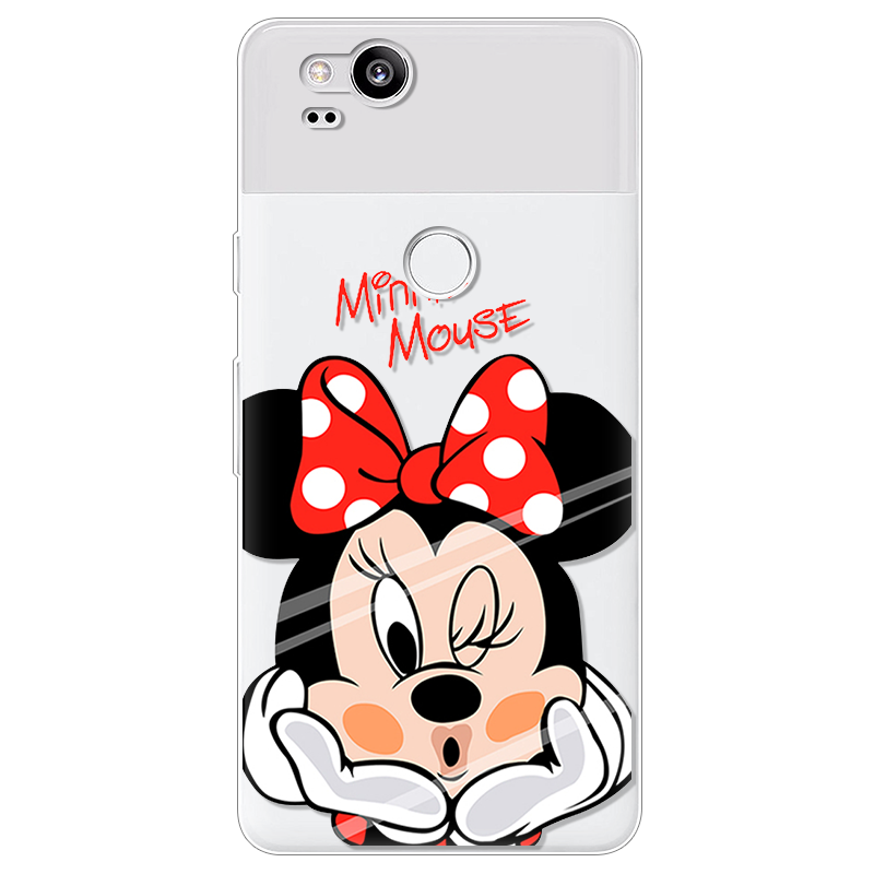 Cartoon Silicone Ultra Thin Soft TPU Minnie For Google Pixel 2 XL Google Pixel XL Rubber Transparent Clear Back Cover