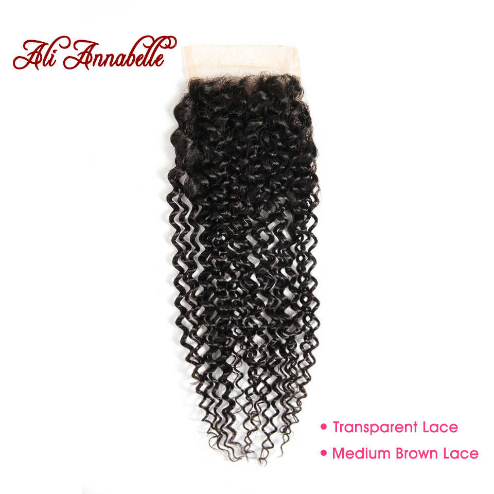 ALI ANNABELLE Brazilian Hair Kinky Curly Closure 100% Remy Human Hair Closure 4 by 4 Medium Brown/Transparent Lace Closure
