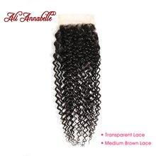 ALI ANNABELLE Brazilian Hair Kinky Curly Closure 100% Remy Human Hair Closure 4 by 4 Medium Brown/Transparent Lace Closure
