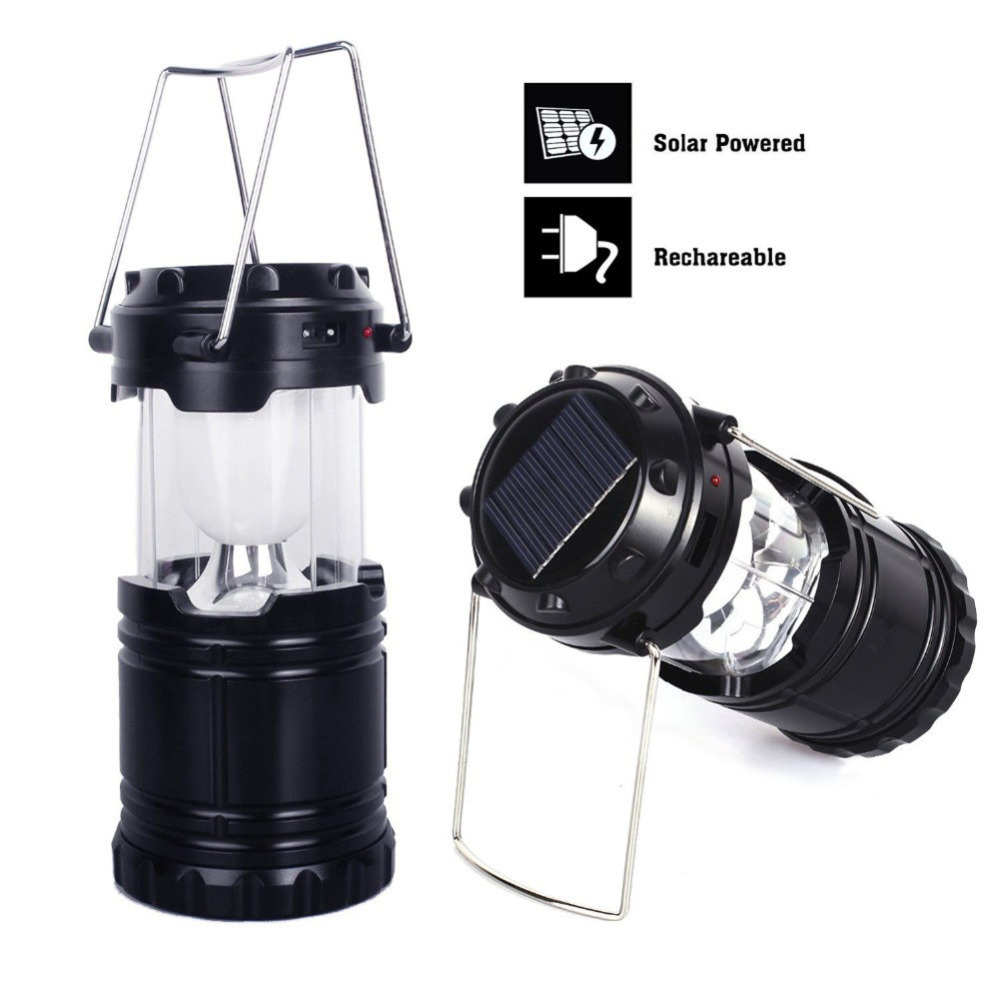Black Portable Solar Charger Lantern Emergency Camping Lanterns Waterproof Rechargeable Hand Crank Light Lamp