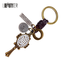 UBEAUTY New Style Punk Alloy Antique Bronze Crystal Mirror Pendant Keychain Car Key Ring Pendant bijouterie