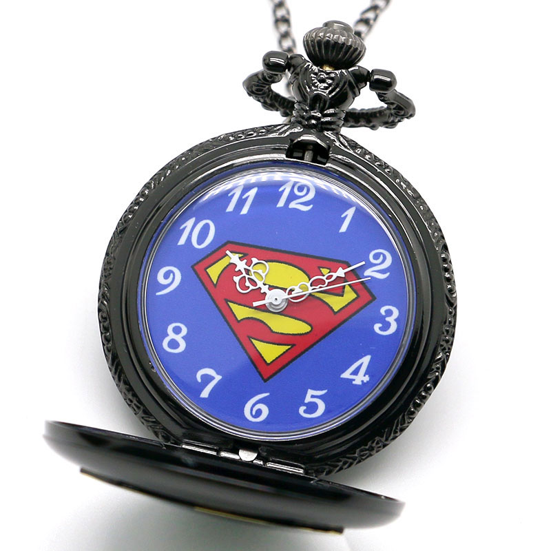 2017 Best Gifts For DC Comics Fans Superman Superhero Boys Children Teen Watches Pocket Watch For Man Women Necklace Gift Bag