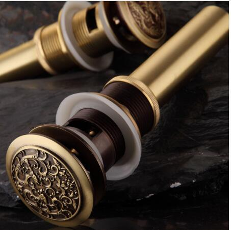 New Arrivals Antique Brass Chinese Dragon Style Bathroom basin waste Pop Up Waste Vanity Vessel Sink Drain Without Overflow new luxury classical antique bronze push down pop up drainer waste without overflow
