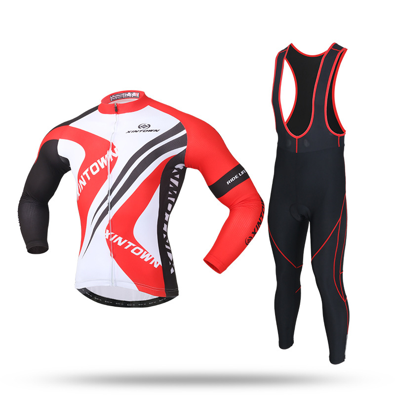 XINTOWN Cycling Jacket Sets Bib Pants Bicycle Jersey Set Men Women Thermal Fleece Riding Sets M L Bike Winter GEL Long Sleeves