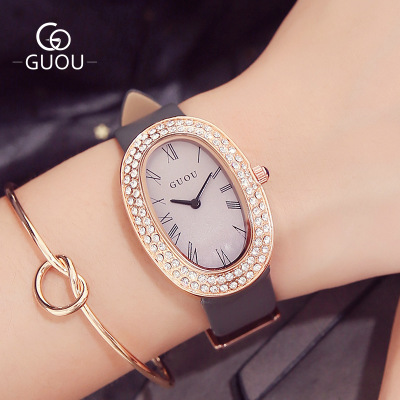 GUOU Brand Luxury Watch Women Oval dial Leather Band Watches Quartz Wrist Ladies Rhinestone Waterproof Wristwatch Reloj mujer 4pcs cnc lathe turning tool holder 6 7 8 10mm sclcr06 boring bar 10pcs ccmt060204 carbide inserts durable blades 4pcs wrench