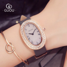 GUOU Brand Luxury Watch Women Oval dial Leather Band Watches Quartz Wrist Ladies Rhinestone Waterproof Wristwatch Reloj mujer