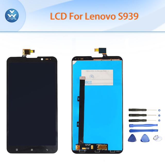 Aaa preto display lcd touch screen digitador assembléia lcd para lenovo s939 6 polegada pantalla peças + ferramentas de reparo do telefone