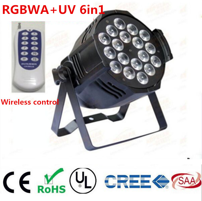 Wireless remote control 18x18W RGBWA UV 6in1 LED Par Can Par64 led spotlight dj projector wash lighting stage light DMX light