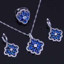 Distinctive Flower Blue Cubic Zirconia White CZ 925 Sterling Silver Jewelry Sets For Women Earrings Pendant Chain Ring V0287 trendy water drop blue cubic zirconia white cz 925 sterling silver jewelry sets for women earrings pendant necklace bracelet