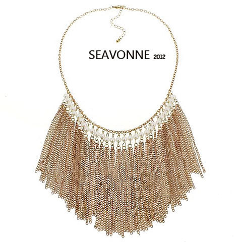 Freeshopping NEW 2012 fashion golden tassels alloy Necklace Choker Necklace dropshipping