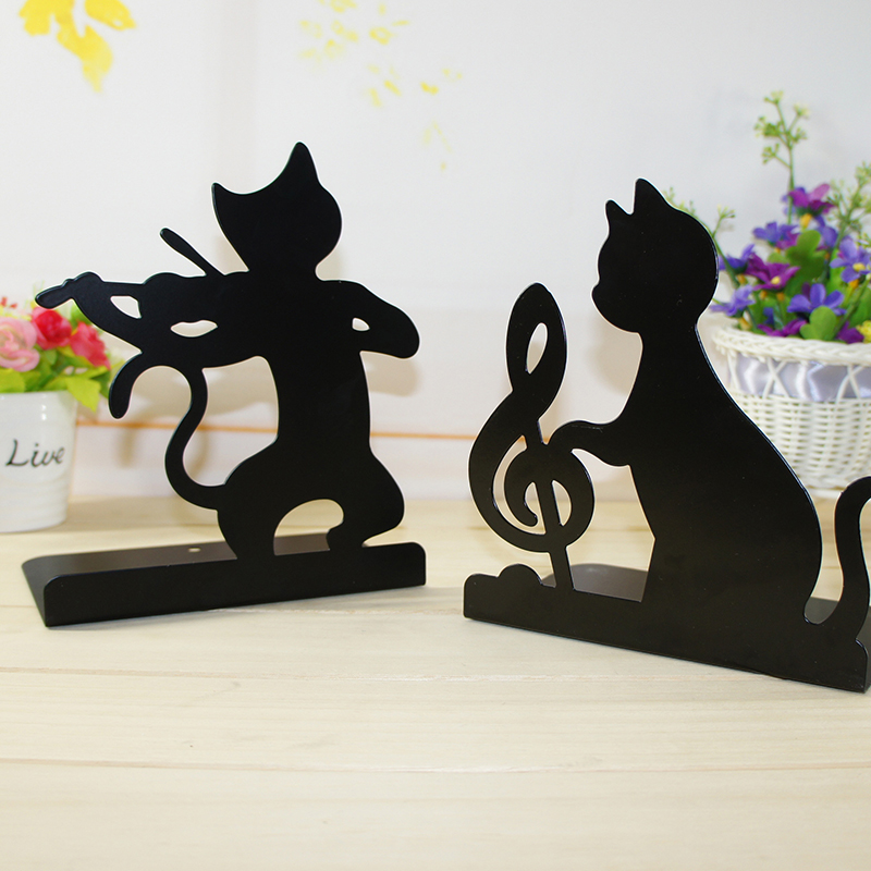 2pcs/set Creative Art Pattern Bookends Metal Black Book Holder Support Desk Organizer Home Decoration School Office Supplies цена