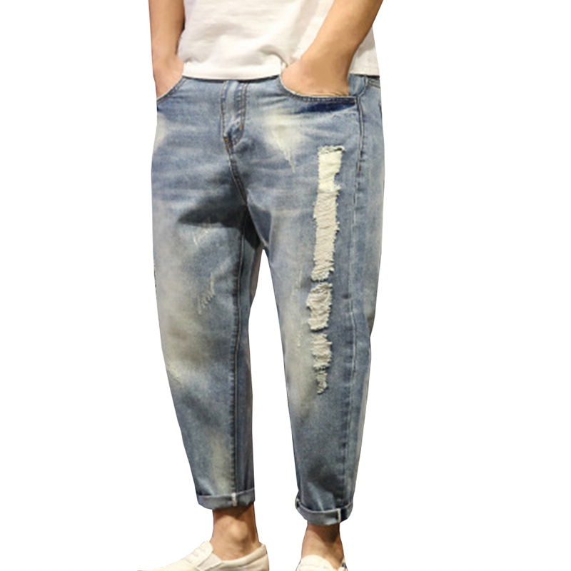 New Arrival Loose Demin Pants Mens Ripped Jeans Casual Washed Distressed Holes Jeans Trousers Large Size