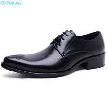 High Quality Genuine Leather Oxford Shoes Men Pointy Shoes Lace-Up Carving Business Dress Shoes Male Formal Shoes ntparker fashion men s leather shoes buckle strap pointy mteal front cap high heels business dress oxford shoes for men