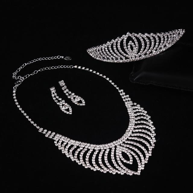 3 peças coroa + colar + brincos de três peças define acessórios do casamento africano contas set jóias