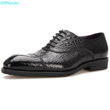 Genuine Leather Formal Crocodile Pattern Men Dress Shoes High Quality Italian Handmade Luxury Designers Classic