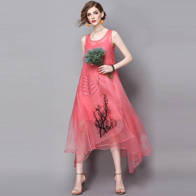b5f2ea5c88491d Womans G Kleid Designer L Seide Frühling Grün Kleider Sommer Rosa tsChQdrx