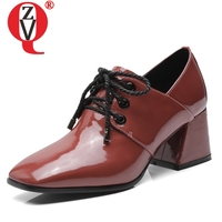 ZVQ hot sale high quality genuine leather women shoes 6 cm square heel cross tied square toe women pumps plus size ladies shoes
