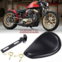 High Quality Motorcycle Solo Seat Leather + Bracket Black Cover For Harley Sportster XL Bobber Chopper Custom Honda Yamaha