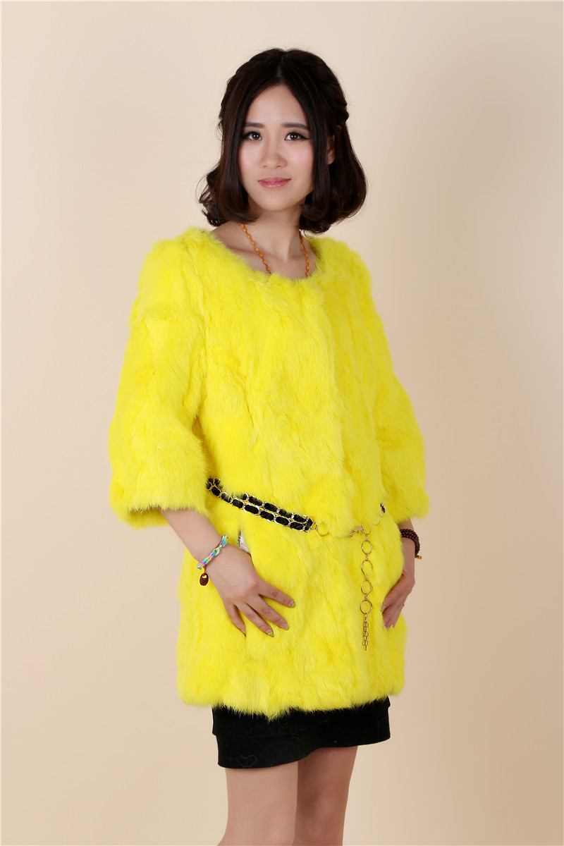 New arrival autumn and winter women's long style genuine rabbit fur coats women three quarter sleeve slim coat outerwear