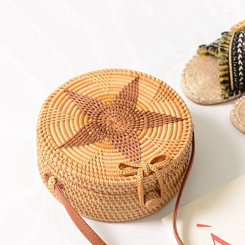 Luggage & Bags Persevering Women Handmade Round Beach Shoulder Bag Circle Straw Bags Summer Woven Rattan Handbags Women Messenger Bags black