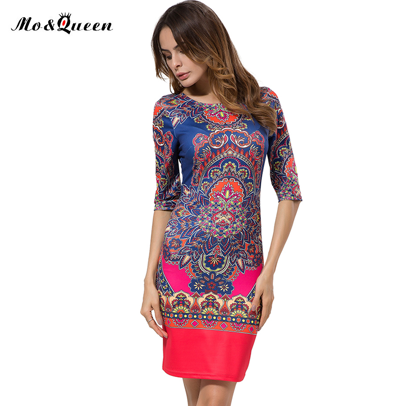 Autumn vintage dress 2017 nuevo lápiz de la manera tribal print dress women body