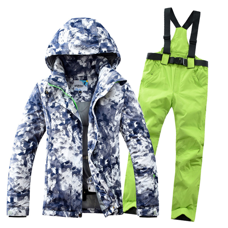 Ski Suit Men Winter 2018 Waterproof Windproof Thicken Warm Snow Clothes Women Men Ski Sets Jacket Skiing And Snowboarding Suits 2018 new lover men and women windproof waterproof thermal male snow pants sets skiing and snowboarding ski suit men jackets