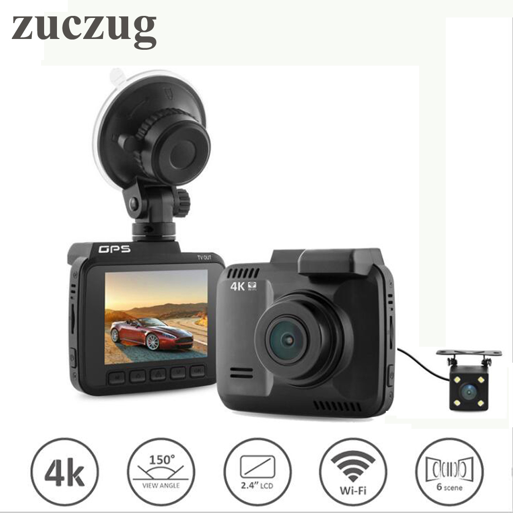 ZUCZUG WiFi Car DVR Recorder Dual Cameras Dash Cam G-sensor Original Novatek 96660 Camera Built in GPS Camcorder4K 4K 2880x2160P dual lens wifi car dvr camera video recorder novatek 96660 built in gps 4k dash cam 2880x2160p dual cameras for front and rear