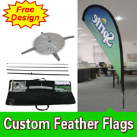 Free Design Free Shipping Double Sided Cross Base Teardrop Flag Signs Advertising Feather Flags Custom Blade Flag