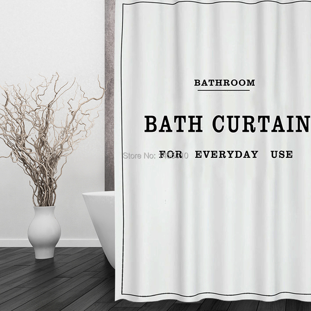 Fabric Polyester White Black BATH CURTAIN Waterproof Shower Curtain ...