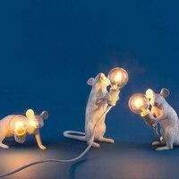 Mouse Lamp/Bedside Lamp/Mouse Decoration Table Lamp White Resin Art Lamp Gift Set desk tight wl451149