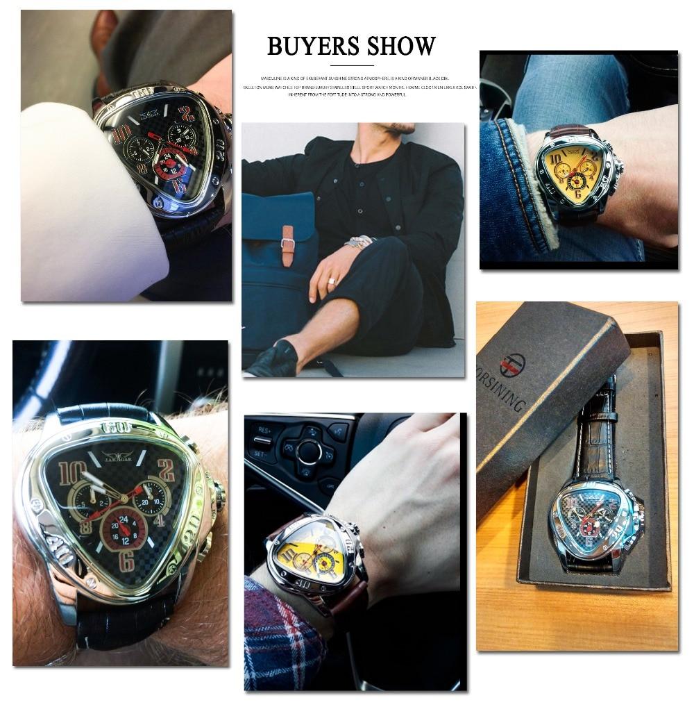 Jaragar Sport Racing Design Geometric Triangle Pilot Genuine Leather Men Mechanical Watch Top Brand Luxury Automatic Wrist Watch