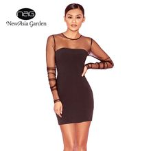2d6a27c5a9 NewAsia Garden Fashion Sheer Autumn Dress Sexy Dress Winter Mesh Bodycon  Party Dress O-neck Long Sleeve Women Mini Dress Black