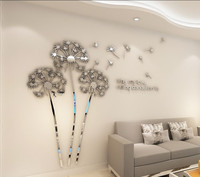 Dandelion Acrylic 3D Stereo Mirror Wall Sticker Bedroom Living Room Background Sofa TV Wall Sticker