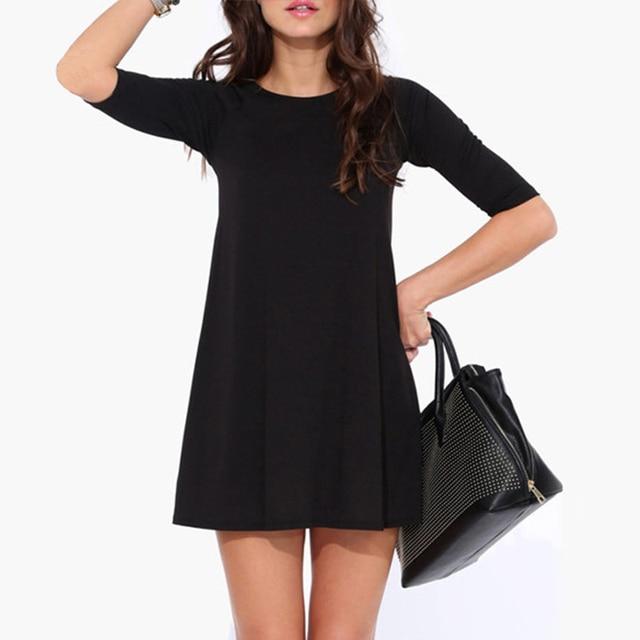 2015 Popular Del Verano Vestido Elegante de la Media Manga de Estilo Europeo Mujeres Vestidos Negro Vestido Vintage Vestidos Feminino WQE3516 * 60