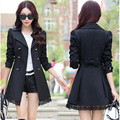 2016 Spring women's trench 2016 slim double breasted medium-long plus size lace trench outerwear women trench coat
