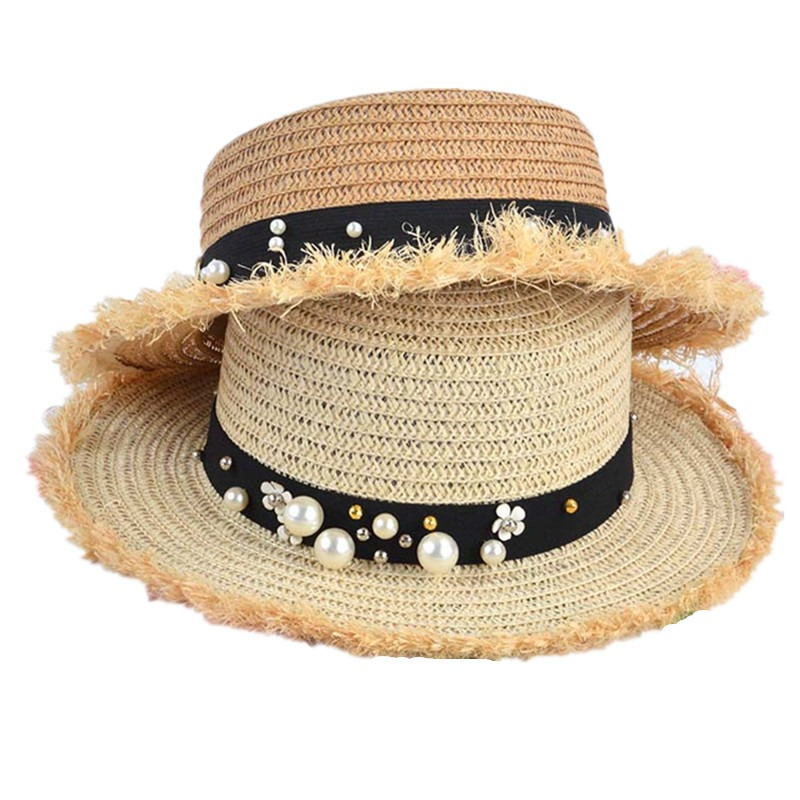 0d3f7f0deb8 lovely Flat top straw hat Summer Spring women s trip caps leisure pearl  beach sun hats black