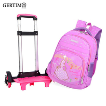 Brand Kids Travel Trolley Backpack On wheels Girl's Trolley School bags Children's Travel luggage Rolling Bag School Backpacks недорого