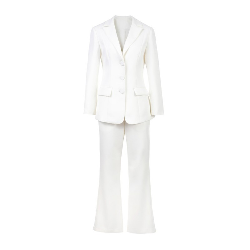 Office Dames Slim Fit White Solid Flare Broek Past Lange Mouw Enkele Breasted Blazer Suits Fashion Womens Tweedelige Sets 2019 - 2