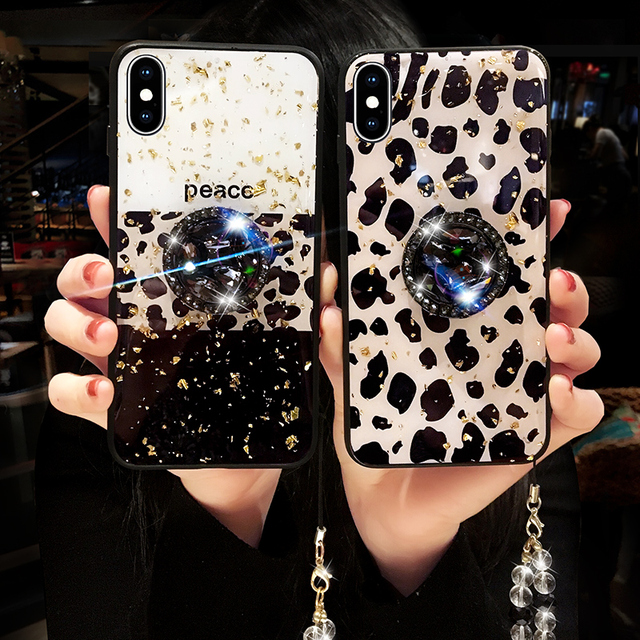 Leopard-print Luxury Phone Case Full Drill Bracket For iPhone X XS MAX XR 6 6S Dropping glue Cover For iPhone 7 8 Plus