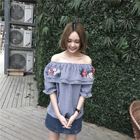 Lychee Spring Summer Women Blouse Off Shoulder Floral Embroidery Ruffle Plaid Casual Loose Shirt Tops
