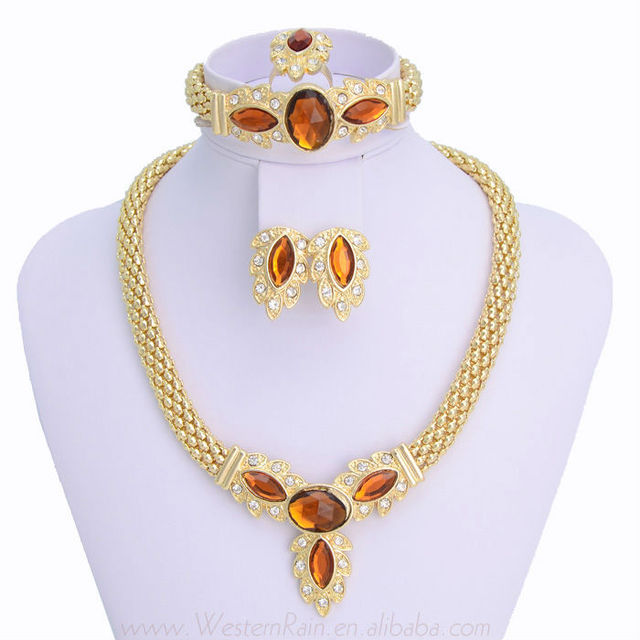 2013 Gold Plated Women's Classic Leaf Rhinestone Necklace &Earrings Set Fashion Jewelry Set , Free Shipping 351