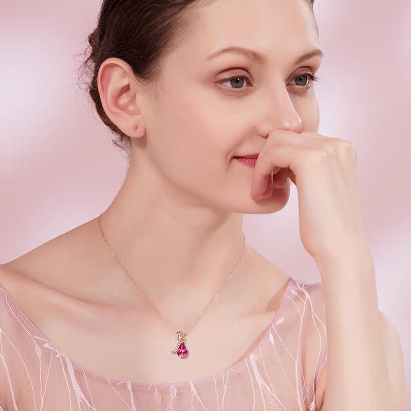 Cdyle Boho takı altın kolye zinciri pembe kristal gül çiçek kolye kolye zirkon kadın düğün yıldönümü hediyesi