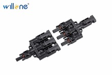 Willone 1 pair free shipping MC4 to 3 T branch solar connector.1Male+3Female&1Female+3Male Three Branch Solar Connector