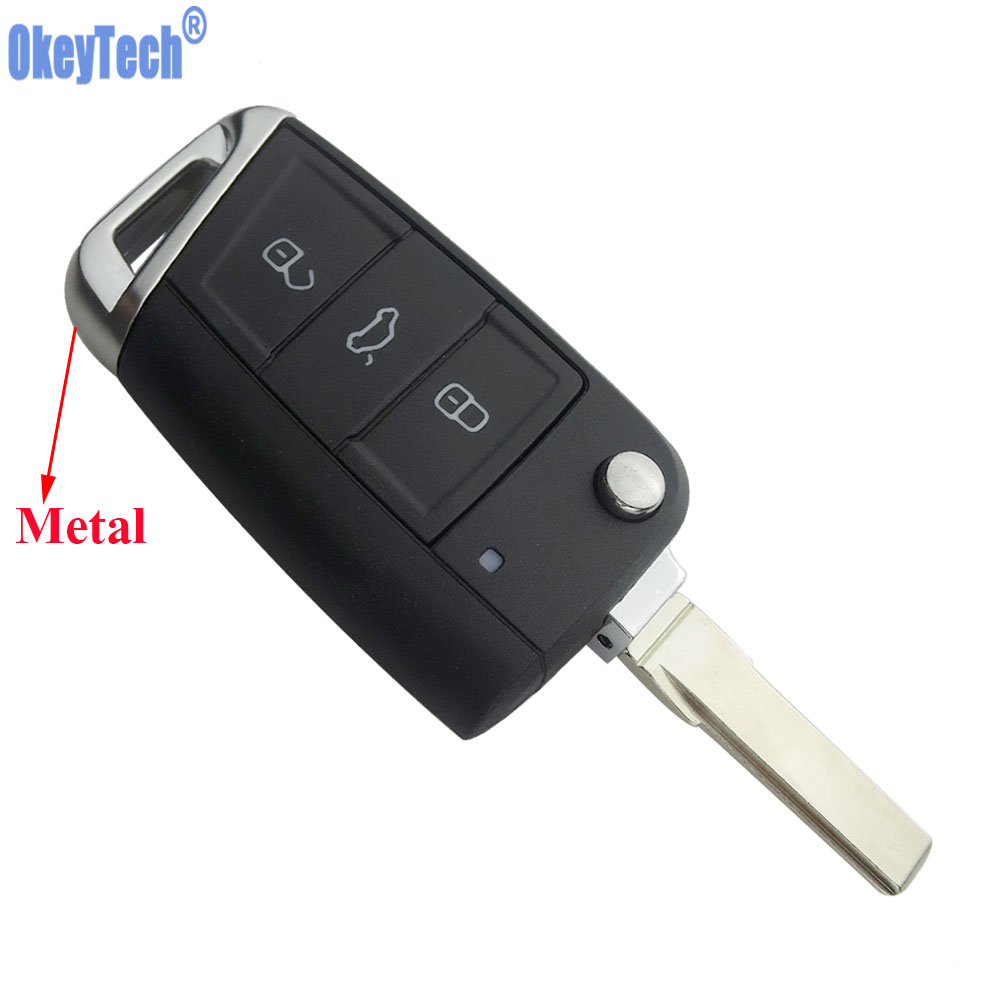OkeyTech New 3 Buttons Flip Folding Car Key Shell Fob For Volkswagen VW Golf 7 GTI MK7 Remote Auto Replacement Key Free Shipping
