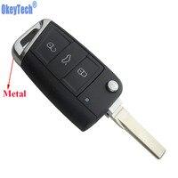 OkeyTech Novas 3 Botões Virar Folding Car Key Shell Fob Para Volkswagen VW Golf GTI 7 MK7 Auto Remoto Chave de Substituição Livre grátis