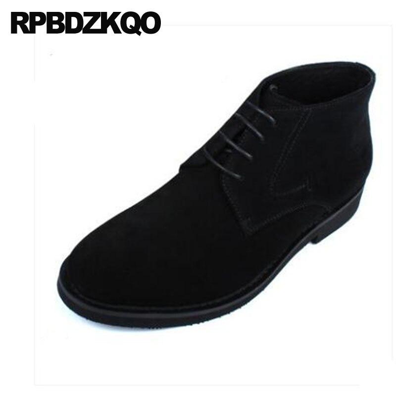 Alta De Calidad Diseñador Vestido Hombres brown Grueso Business Partido Zapatos Suede Los Black Genuino Oxford Cuero Otoño Lace Up Formal Botines 1Irdngdc